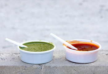Delicious red and green mint chutney