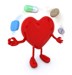 heart with arms and legs and big pills