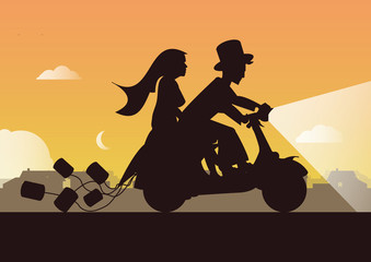Hochzeit auf Motorrad