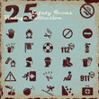 Safety icons set, vintage collection series
