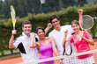 Excited tennis players