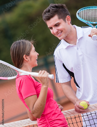 Tennis players at the court