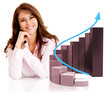 Business woman with a growth graph