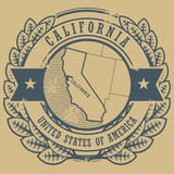 Grunge rubber stamp with name and map of California, USA, vector