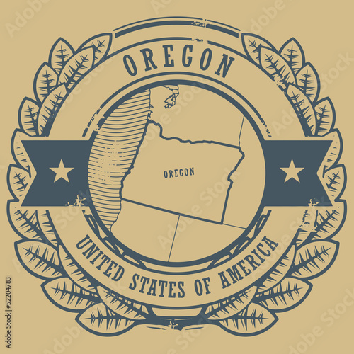 Grunge rubber stamp with name and map of Oregon, USA