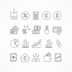 Set 20 icons finance_lines