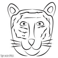 Line tiger vector illustration