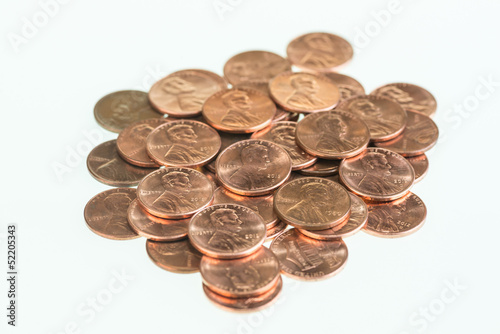 American pennies piled up