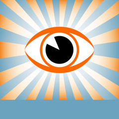 Eye sunburst with copy space vector.