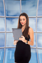 Business woman holding a computer tablet