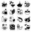 Icons set with reflection: Food and drink