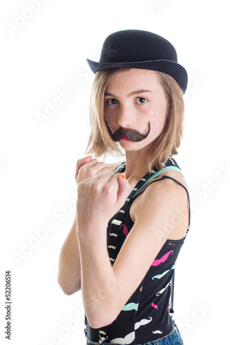 kid with fake mustache in boxing stance