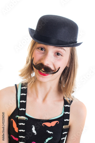 happy child with fake mustache