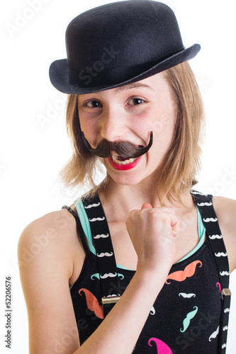 Happy girl with mustache