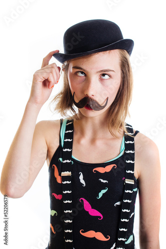 confused girl with mustache