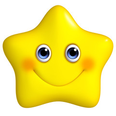 3d cartoon yellow star