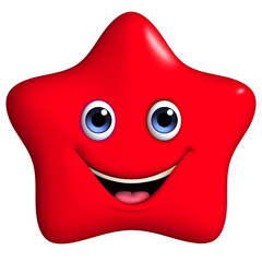 3d cartoon red star