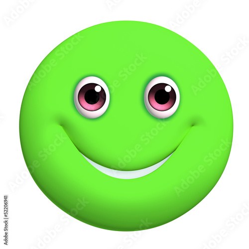 Leinwanddruck Bild 3d cartoon cute green ball