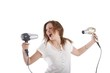 wild young beautiful woman with two hairdryer (white background)