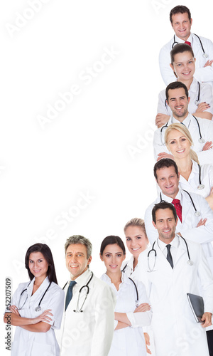 Large group of doctors and nurses
