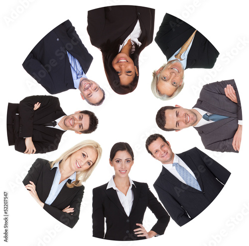 Low angle view of diverse group of business people