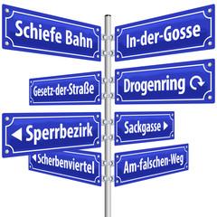 Straßenschilder Kriminalität ( deutsche Begriffe )