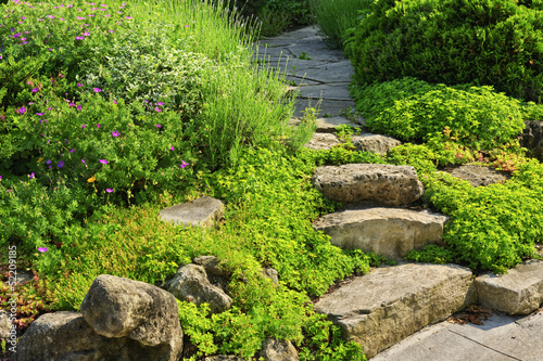 Fotobehang Tuin Garden path with stone landscaping