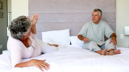 Mature couple having a dispute
