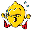 Funny crying cartoon lemon