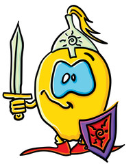 Funny cartoon lemon is a knight