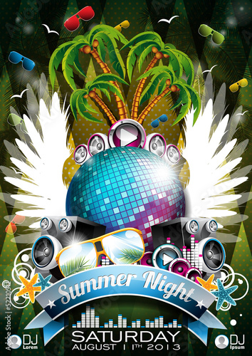Vector Summer Beach Party Flyer with disco ball