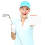Golf player - woman golfer showing sign