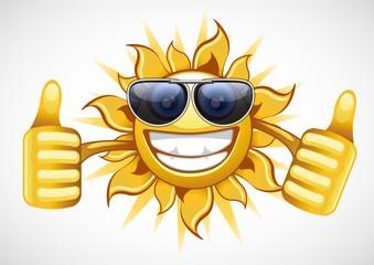 sun in glasses