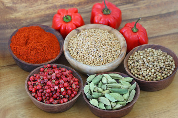Mixed spices and round hot peppers on wooden background