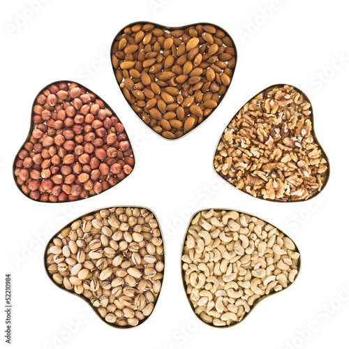 Nut mix in a heart shaped boxes