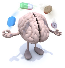brain with arms and legs and big pills in the air