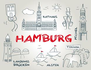 Hansestadt Hamburg, Wahrzeichen, illustration