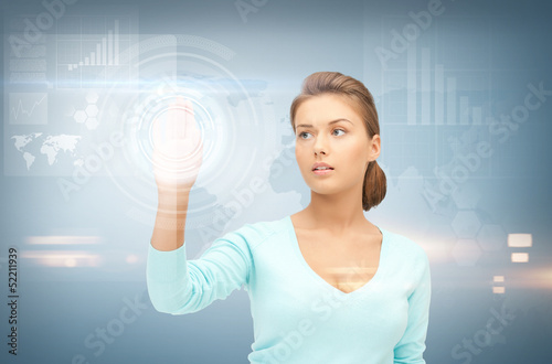 businesswoman working with something imaginary