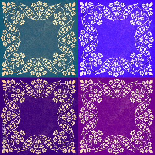 Abstract floral motif collage in cool colors
