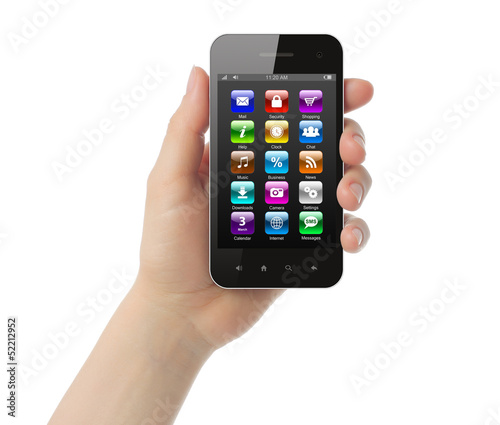 Woman hand holds smart phone with icons on white background .