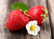Fresh strawberry on a wooden background