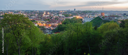 Lithuania. Panorama of Vilnius Old Town in spring