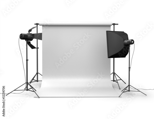 Photo studio equipment. Space for text. 3d