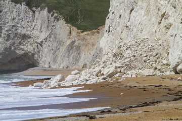 Recent cliff rockfall Durdle Door, Dorset, UK