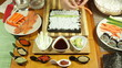 Closeup of making vegetarian Sushi roll