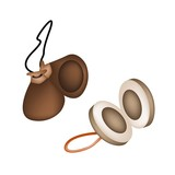 Two Beautiful Castanets on A White Background