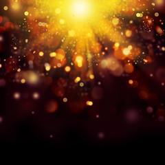 Gold Festive Christmas background. Golden Abstract Bokeh