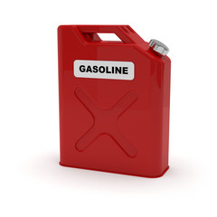 "Red jerrycan with ""gasoline"" label"