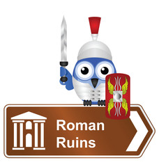 Comical Roman Ruins sign