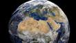 Libya flag on pole on earth globe animation